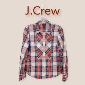 J.Crew Plaid Button Front Top 100% Cotton Size 10